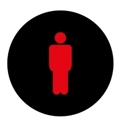 Man flat intensive red and black colors round vector
