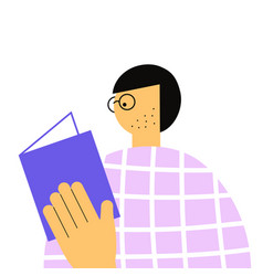 Man in glasses reads book vector
