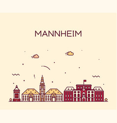 mannheim skyline germany city linear style vector image
