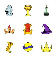 middle age icons set cartoon style vector image