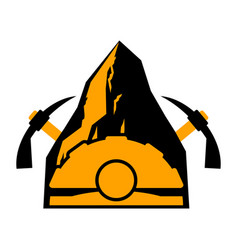 Mining logo meiner emblem helmet and pickaxe and vector
