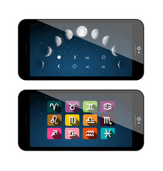 moon phases symbols mobile phone app astrology vector image