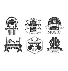 music production retro labels music rrecording vector image