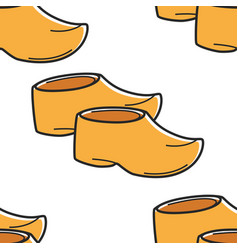 Netherlands traditional footwear wooden clogs vector