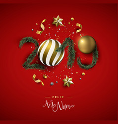 new year 2019 red holiday decoration in spanish vector image