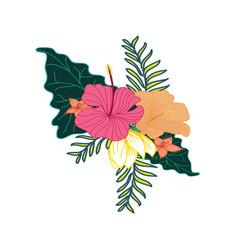 Nice tropical flower foliage composite design vector