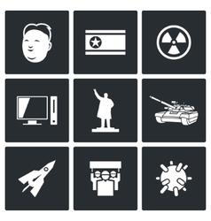 North Korea icons vector image