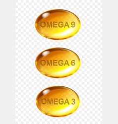 omega acids shiny drops nutrient fish oil vector image