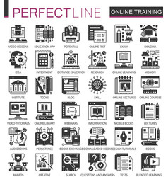 Online modern education black mini concept icons vector