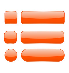 orange glass buttons web 3d shiny icons set vector image