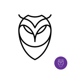 outline style owl simple icon predator bird face vector image