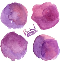 Purple watercolor painted stains set vector image