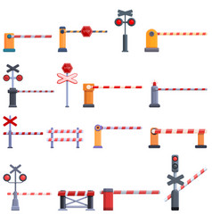 Railroad barrier icons set cartoon style vector