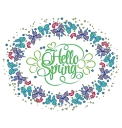 round frame butterflies hello spring lettering vector image