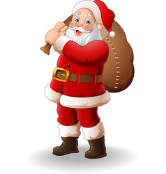 Santa claus carrying big bag vector