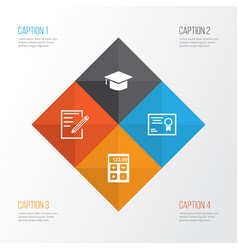 School icons set collection of paper certificate vector