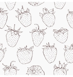 Seamless pattern with strawberries Hand vector image