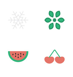 Set of simple garden icons vector