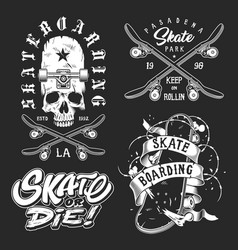 Set of skateboarding emblems vector
