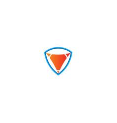 shield triangle technology logo vector image