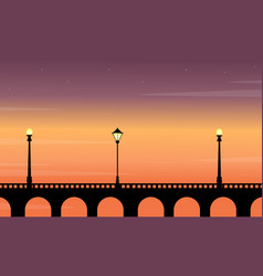 Silhouette of bridge with street lamp beauty vector