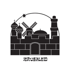 Silhouette of the Old City Jerusalem Israel vector