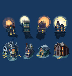 Spooky house haunted castle with dark scary vector