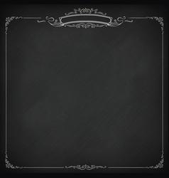 Square retro blackboard background with border vector