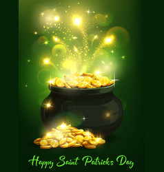 St patricks day irish leprechaun pot gold vector