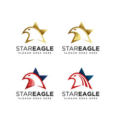 star and eagle logo icon collection set vector image