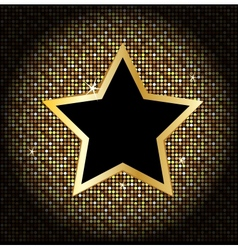 Star on the golden glittering disco background vector