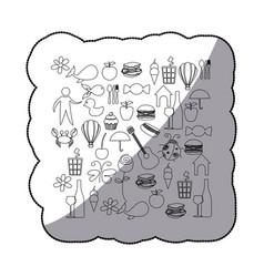 Sticker sketch contour set elements daily life vector