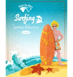 Surfing summer adventure poster vector image