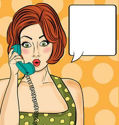 Surprised pop art woman chatting on retro phone vector