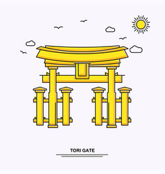 Tori gate monument poster template world travel vector