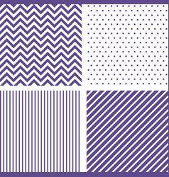 Ultra violet seamless patterns chevron striped vector