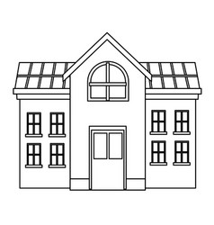 University campus house black and white vector