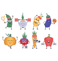 vegetables fitness funny doodle veggies in vector image