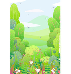 vertical floral border and spring landscape vector image