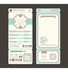 vintage style boarding pass wedding invitation vector image