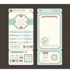 Vintage style boarding pass wedding invitation vector
