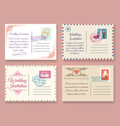 Vintage wedding postcard templates vector