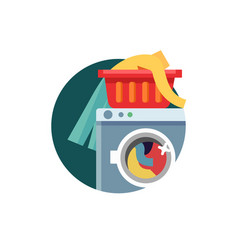 Washing machine with linen and clothes vector
