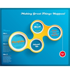Web design template with circles on blue vector image
