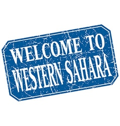 Welcome to Western Sahara blue square grunge stamp vector