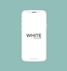 white smartphone x mockup isolated on background vector image