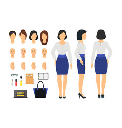 cartoon business woman and constructor element vector image vector image