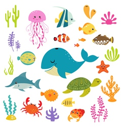 Cute underwater world vector image vector image