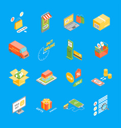 online shopping icons set isometric view vector image vector image