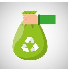 plastic bag recycled hand hold icon vector image vector image